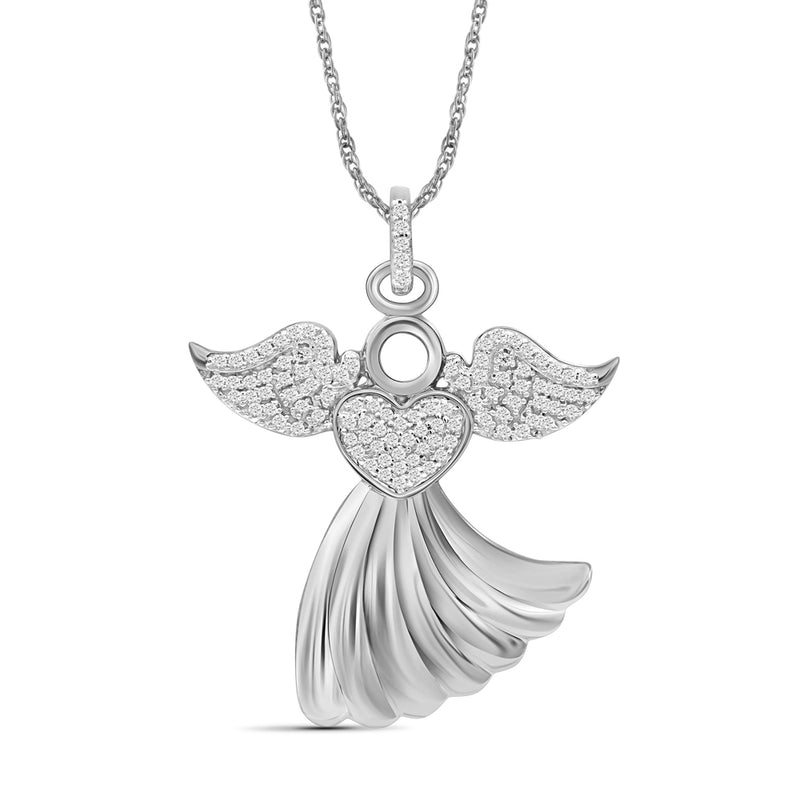 1/4 Ctw White Diamond Angel Pendant in Sterling Silver - Assorted Finish