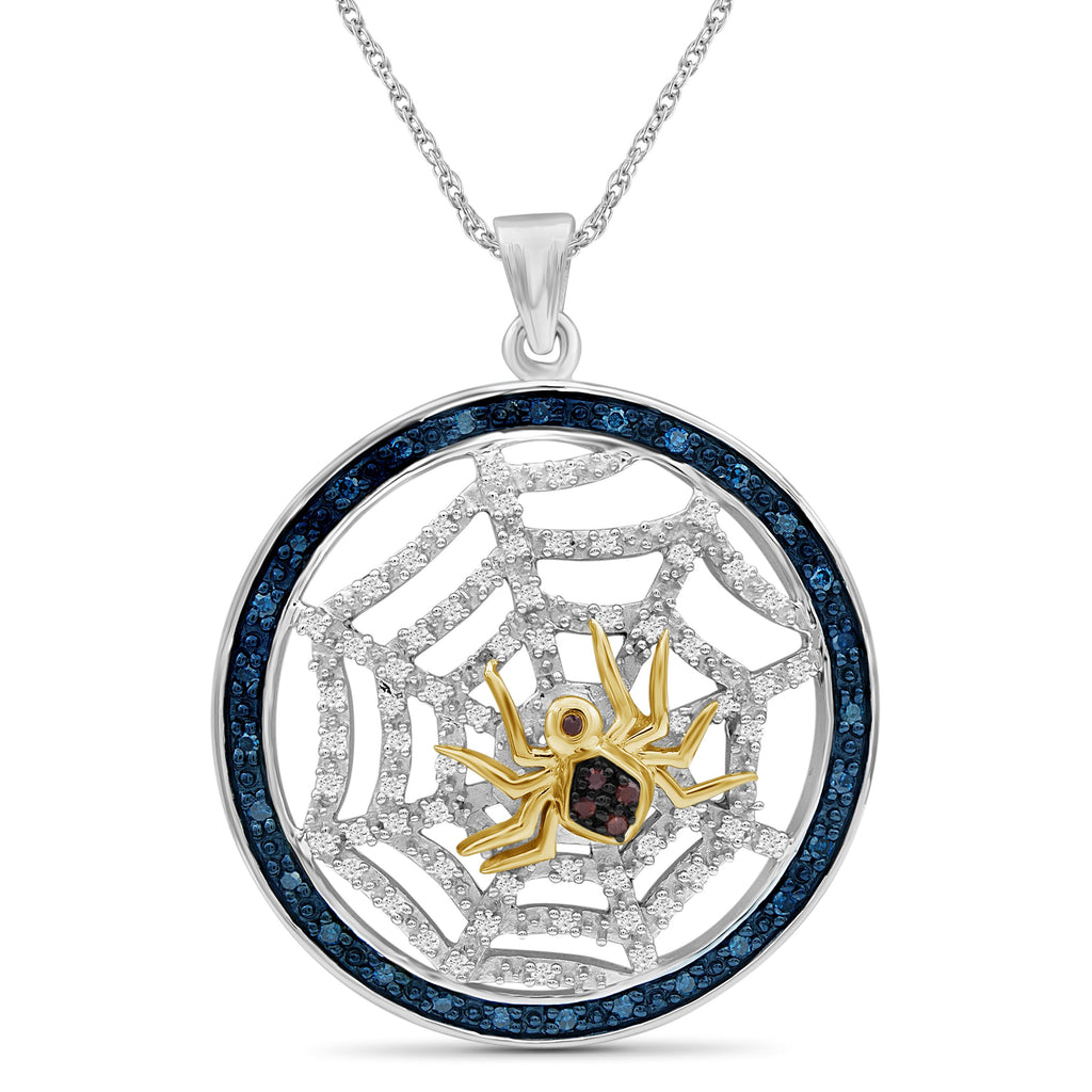 1/2 Ctw Multi Color Diamond Two-Tone Sterling Silver Spider with Net Pendant