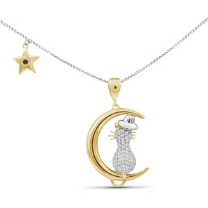 1/5 Ctw White Diamond Two-Tone Sterling Silver Cat Moon Pendant