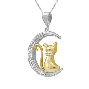 1/7 Ctw White Diamond Two-Tone Sterling Silver Cat Moon Pendant