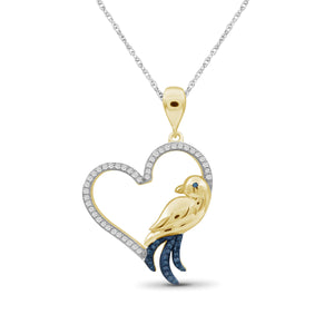 1/7 Ctw Blue & White Diamond 14K Gold over Silver Bird Pendant