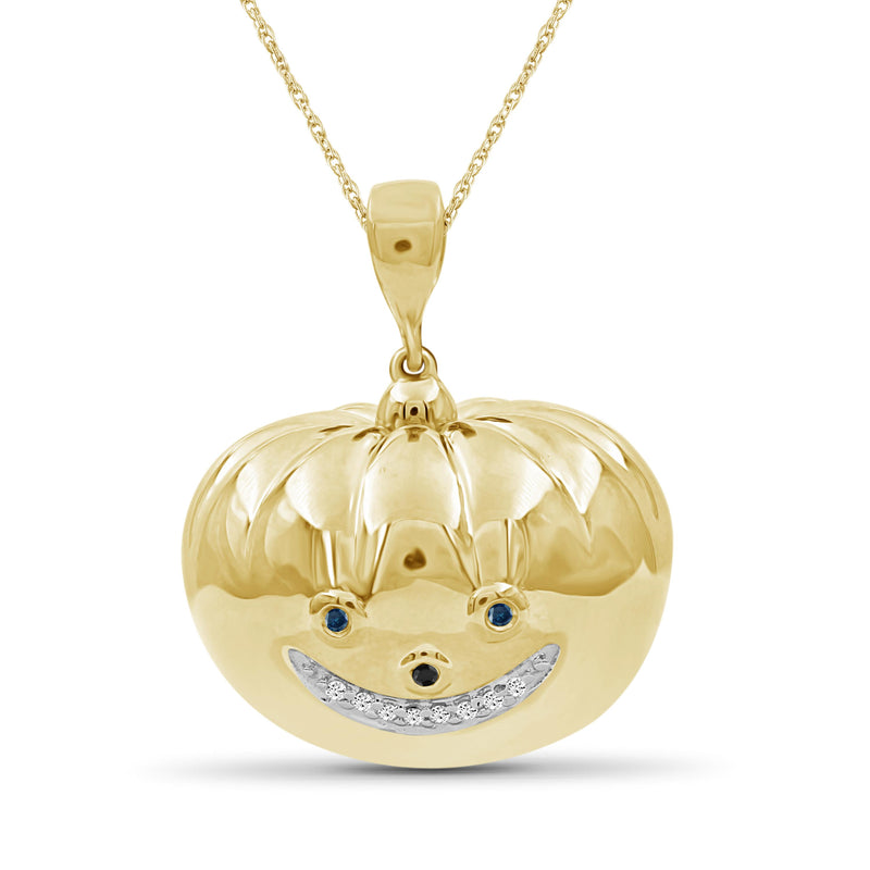 1/10 Ctw Multicolor Diamond 14k Gold Over Silver Emoji Pendant
