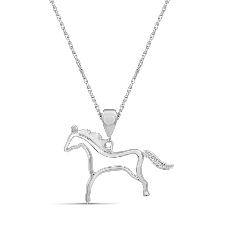 Accent White Diamond Sterling Silver Horse Pendant