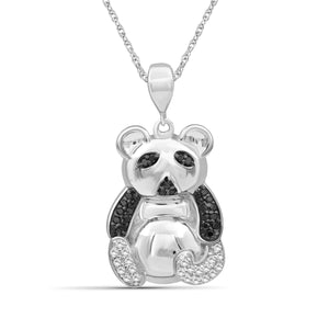 1/10 Ctw Black & White Diamond Sterling Silver Bear Pendant