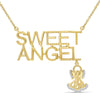 "1/20 Ctw White Diamond ""Sweet Angel"" Necklace in 14kt Gold over Silver"