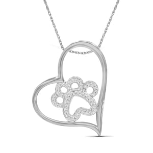 1/7 Carat T.W. White Diamond Sterling Silver Paw Heart Pendant - Assorted Colors