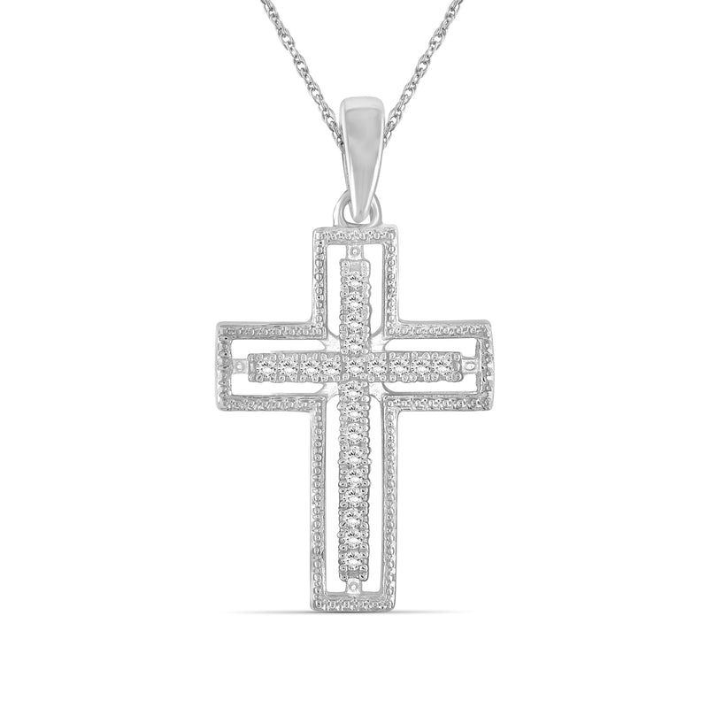 1/7 Ctw White Diamond Cross Pendant in Sterling Silver - Assorted Colors
