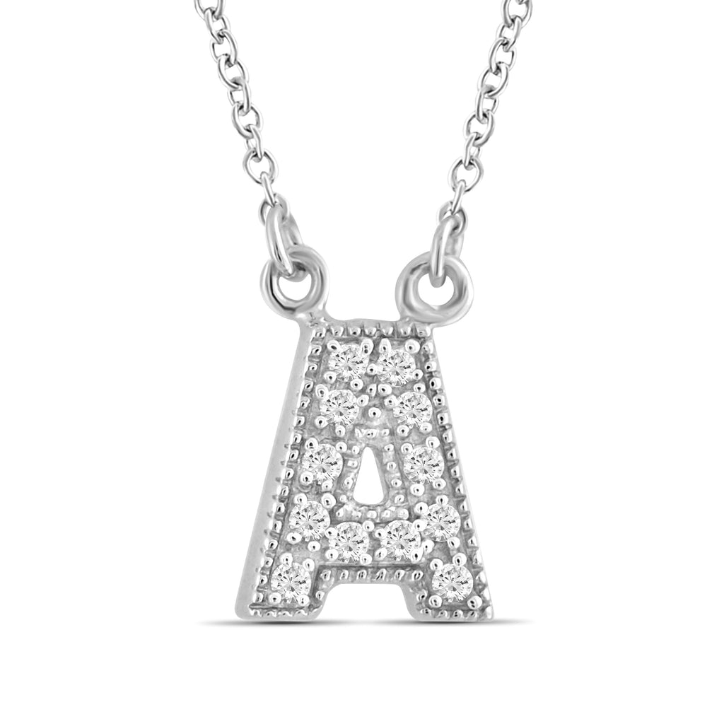"1/10 Ctw White Diamonds ""A to Z"" Initial Necklace  in Sterling Silver - Assorted Styles"