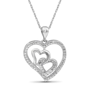 Accent White Diamond Sterling Silver Heart Pendant - Assorted Colors