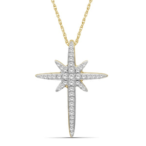 1/5 Carat T.W. White Diamond Sterling Silver Cross Pendant - Assorted Colors