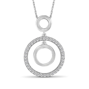 1/4 Ctw White Diamond Sterling Silver Circle Pendant - Assorted Colors