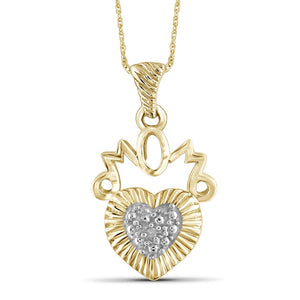 "Genuine White Diamond Accent ""Mom"" Heart Pendant Necklace in Sterling Silver"