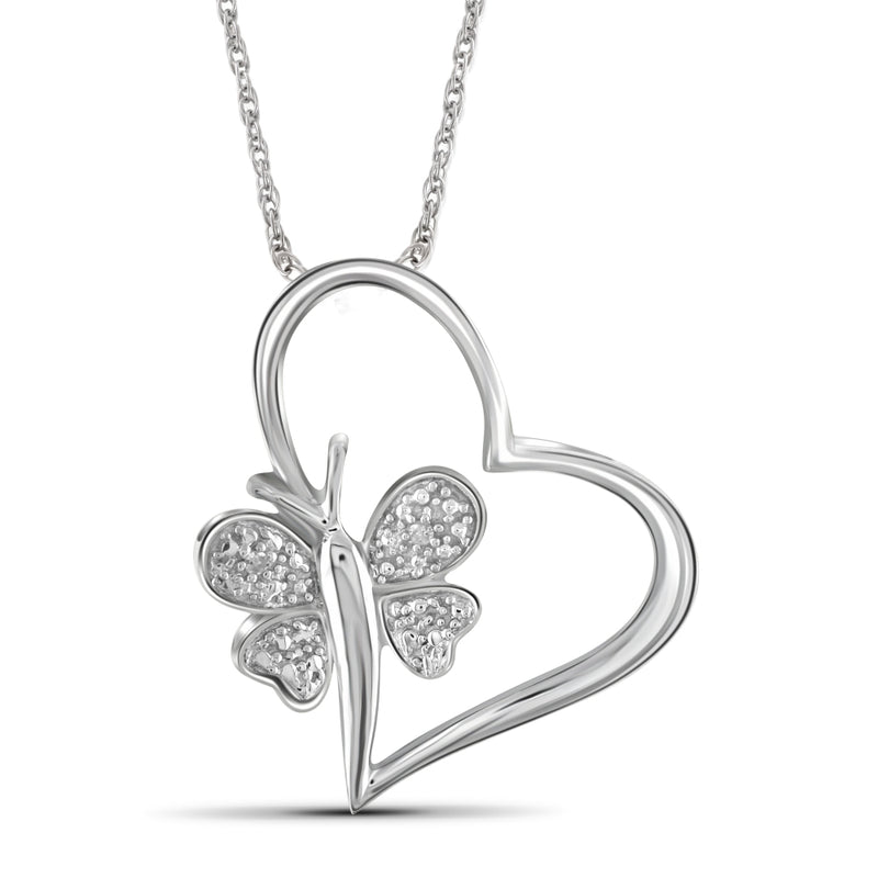 White Diamond Accent Sterling Silver Heart And Butterfly Pendant - Assorted Finish
