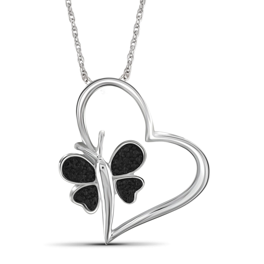 Black Diamond Accent Sterling Silver Heart And Butterfly Pendant - Assorted Finish