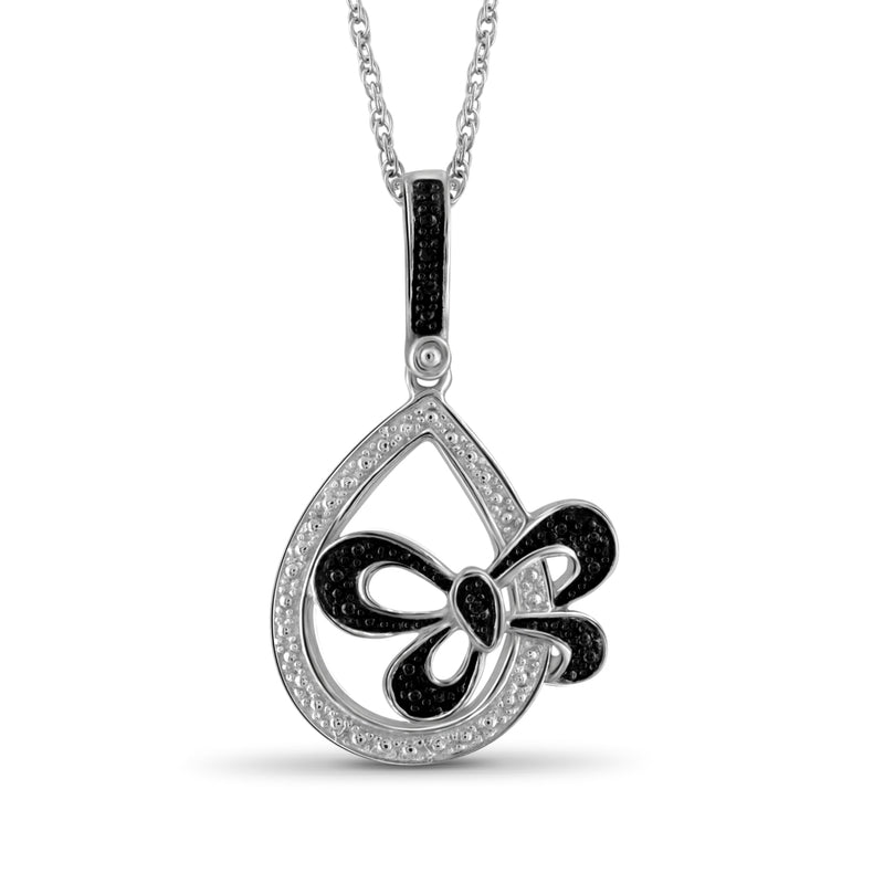 Black Diamond Accent Sterling Silver Tear Drop ButterFly Pendant