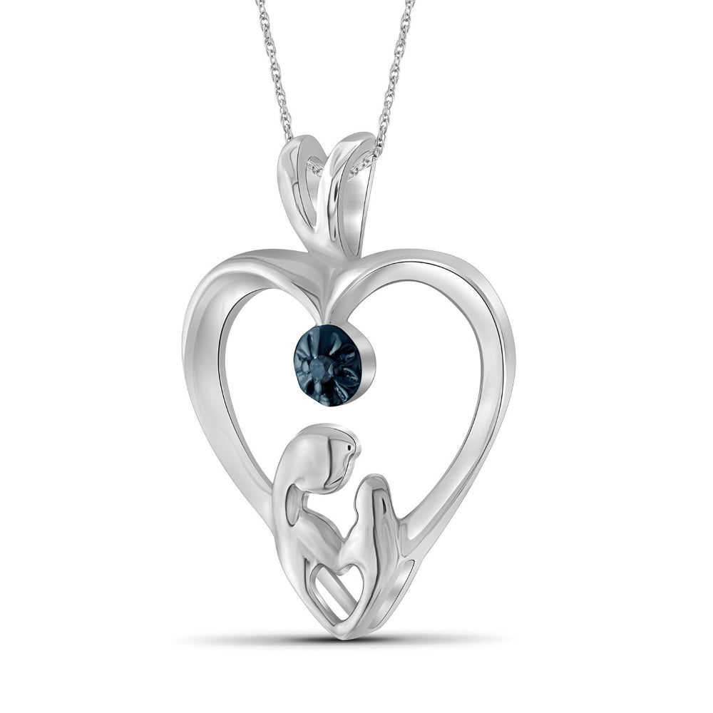 Genuine Blue Diamond Accent Mom & Child Heart Pendant Necklace in Sterling Silver