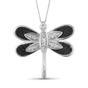 White Diamond Accent Two-Tone Sterling Silver Butterfly Pendant
