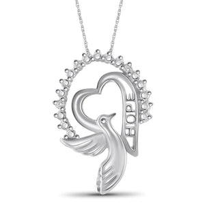 "White Diamond Accent Sterling Silver ""HOPE"" Heart Pendant - Assorted Finish"