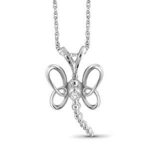 White Diamond Accent Sterling Silver Butterfly Pendant
