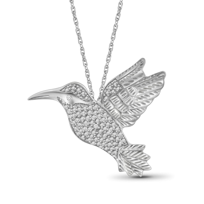 White Diamond Accent Sterling Silver Soaring Bird Pendant