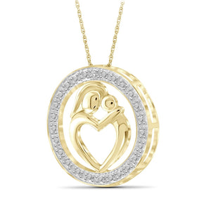 Genuine Diamond Accent Mother & Child Heart Pendant Necklace in Sterling Silver