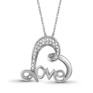 Genuine Diamond Accent Lovely Heart Pendant Necklace in Sterling Silver