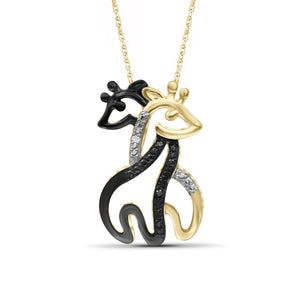 Black And White Diamond Accent Sterling Silver Double Giraffe Pendant - Assorted Finish