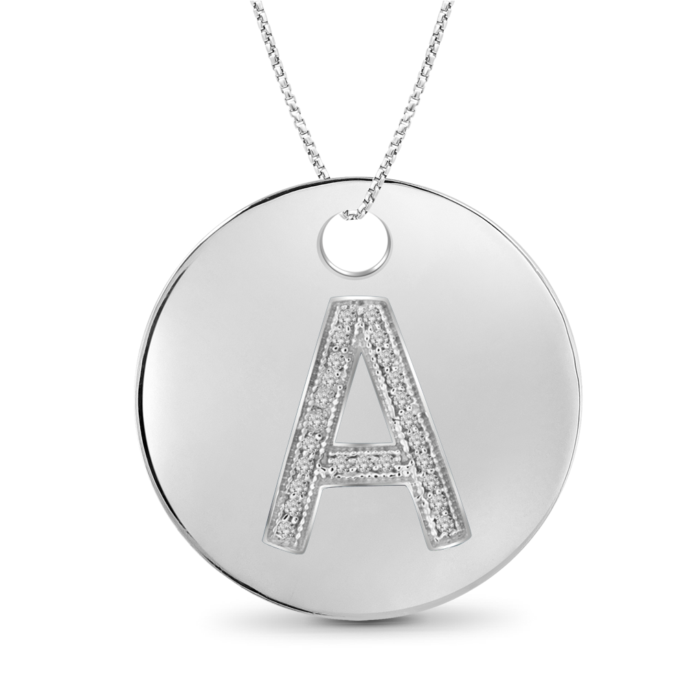 1/20 Carat Diamond A to Z Initials Pendant Sterling Silver - Assorted Colors & Styles