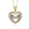 1/4 Carat T.W. Black And White Diamond Sterling Silver Heart Animals Pendant - Assorted Finish & Style