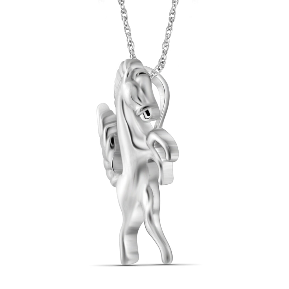 Sterling Silver Stallion Horse Pendant - Assorted Finish
