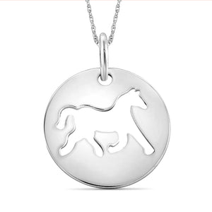 Sterling Silver Cutout Horse Charm Pendant - Assorted Finish