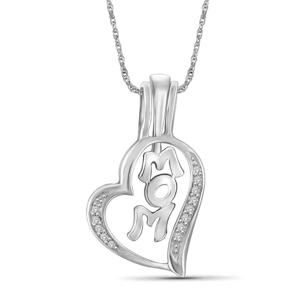 1/20ctw Genuine Diamond Mom Pendant Necklace in Sterling Silver