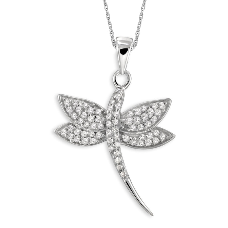 1/4 Carat T.W. White Diamond Sterling Silver Butterfly Pendant
