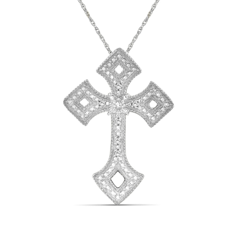 Accent White Diamond Cross Pendant in Sterling Silver - Assorted Colors