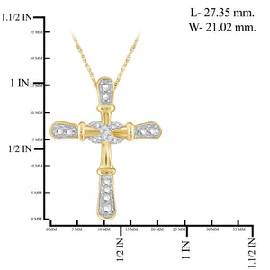 Accent White Diamond Infinity Cross Pendant in Sterling Silver - Assorted Colors