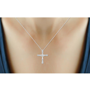 1/10 Ctw White Diamond Infinity Cross Pendant in Sterling Silver - Assorted Finishes