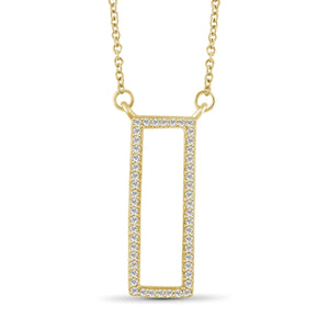 1/5 Ctw White Diamond Sterling Silver Rectangle Pendant - Assorted Colors
