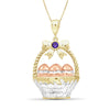 Egg Basket Birthstone Pendant in Sterling Silver - Assorted Birthstones