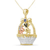 Birthstone and Accent Diamond Rabbit Basket Pendant in Sterling Silver - Assorted Birthstones