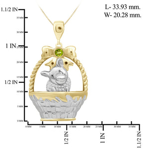 Birthstone and Accent Diamond Dog Basket Pendant in Sterling Silver - Assorted Birthstones