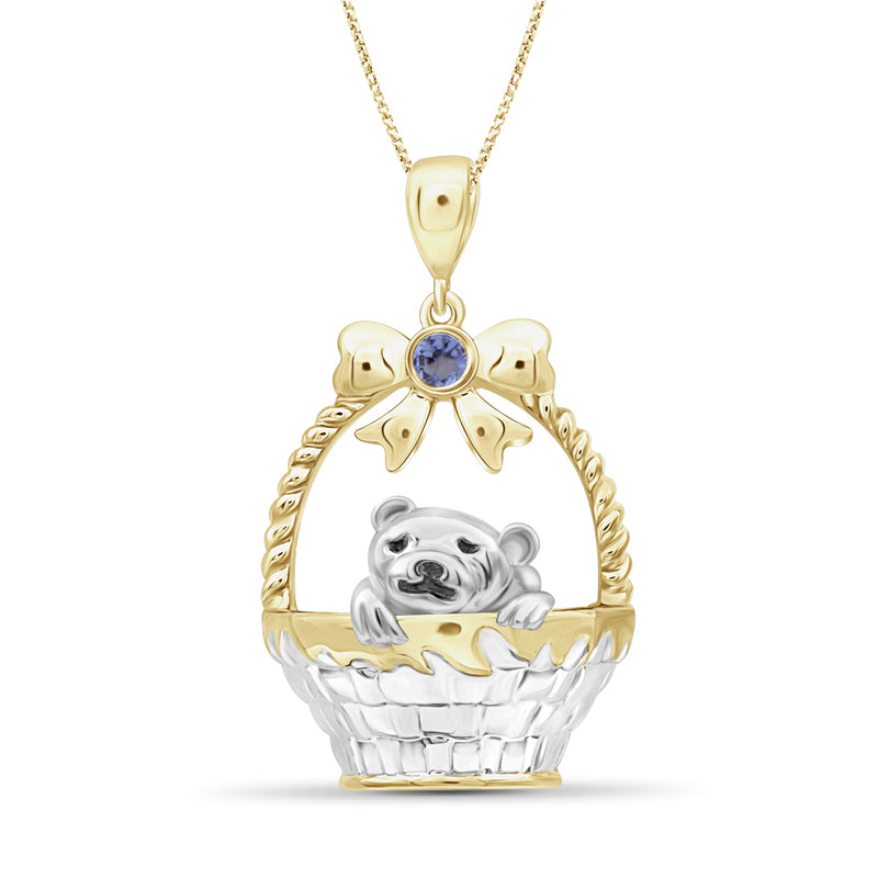 Dog Basket Birthstone Pendant in Sterling Silver - Assorted Birthstones