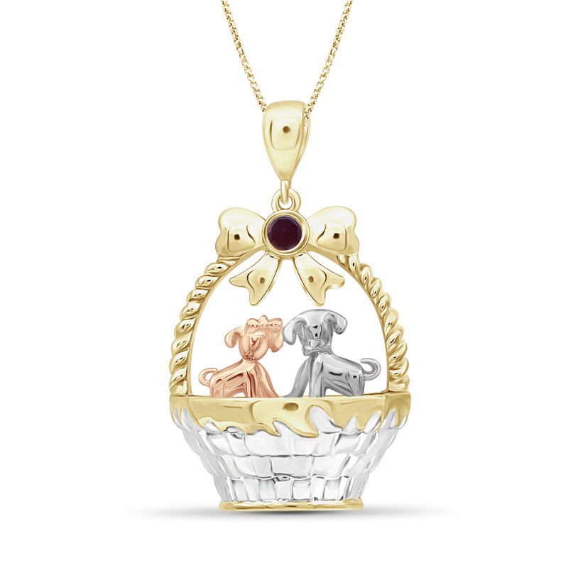 Birthstone and Accent Diamond Puppies Basket Pendant in Sterling Silver - Assorted Birthstones
