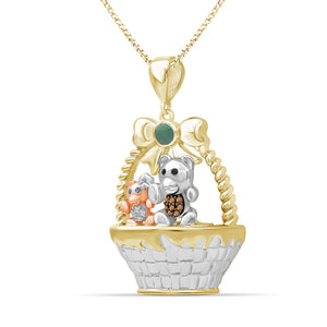 Birthstone and Accent Diamond Teddy Basket Pendant in Sterling Silver - Assorted Birthstones