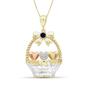 Birthstone and Accent Diamond Hearts Basket Pendant in Sterling Silver - Assorted Birthstones