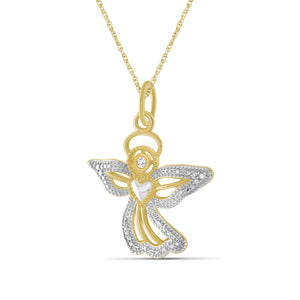 "1/10 Ctw Red & White Diamond ""Sweet Angel"" Necklace in Two-Tone Sterling Silver"