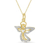 Accent White Diamond Angel Pendant in Two Tone Sterling Silver