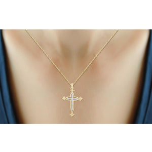 1/10 Ctw White Diamond Cross Pendant in Sterling Silver - Assorted Finishes