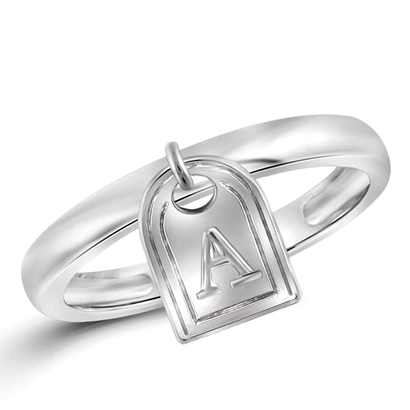 Sterling Silver Initial Charm Ring