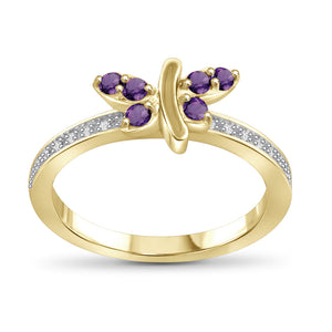 Gemstones and 1/20ctw White Diamonds Ring- Assorted Styles