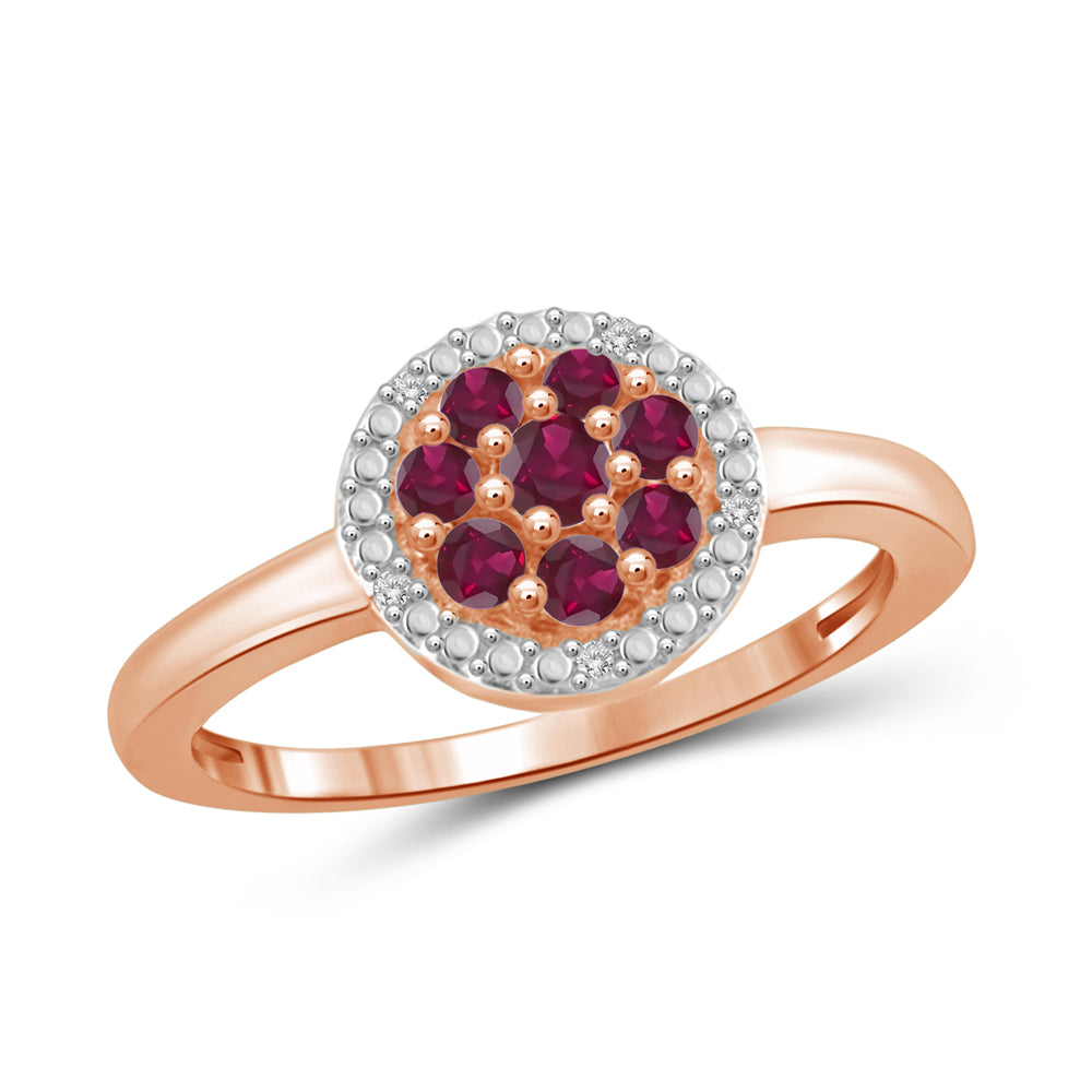 Gemstones and Accent White Diamonds Ring- Assorted Styles